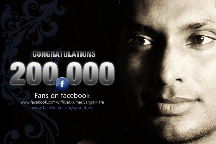 Sangakkara's Official Fan Page Hits 200,000 !