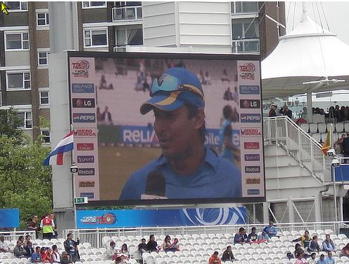 Sangakkara on the giant screen at Lords