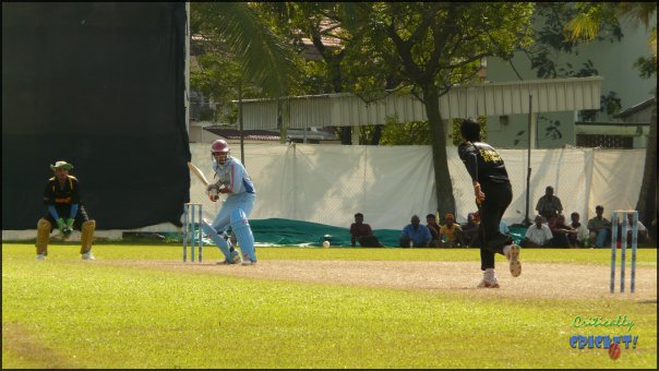 Tharanga bowling at the Olam Cup in Singapore
