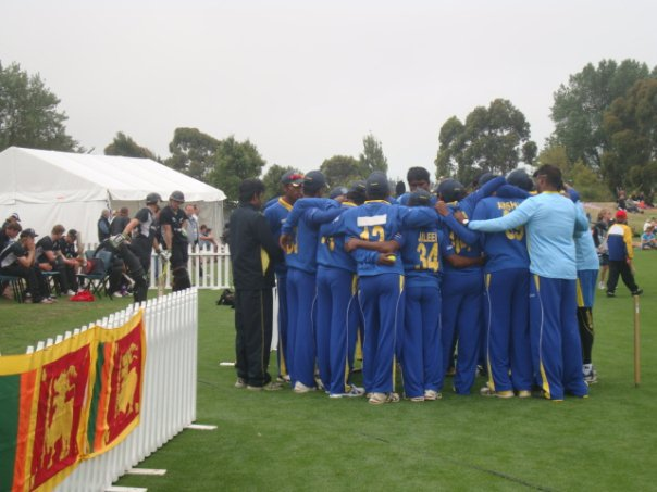 Sri Lanka U 19 huddle before the match vs New Zealand