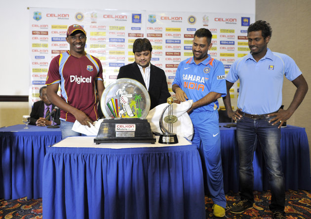 Bravo, Dhoni and Mathews at the tri-series trophy inauguration