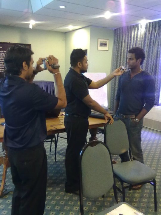 Angelo Mathews gives out an interview at SLC HQ