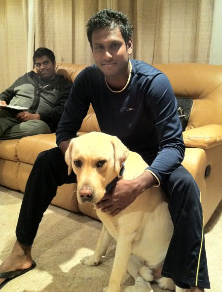 Angelo Mathews with a pet dog in Melbourne, Australia