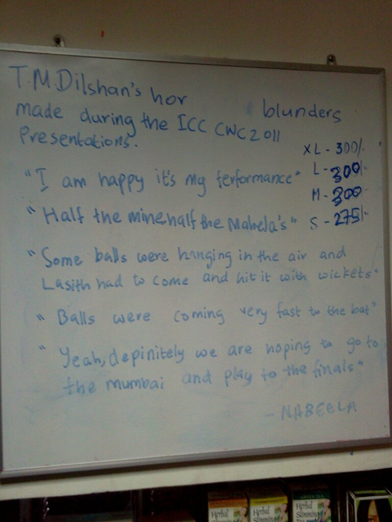 Dilshan's presentation blunders at World Cup 2011