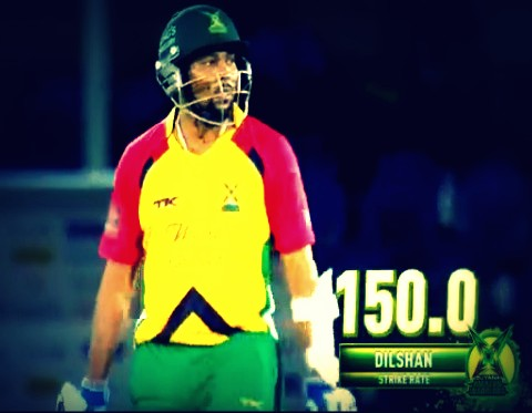 CPL 1st semi final: Dilshan in action