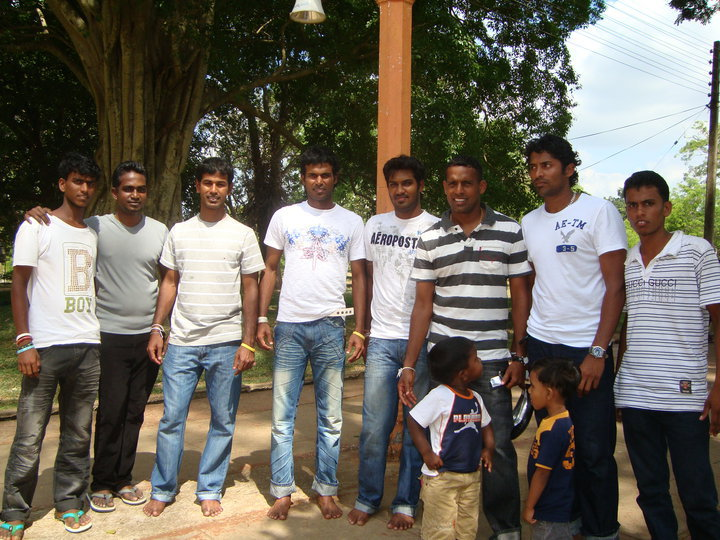 Kula, Tharanga, Kapu, Samara and Wela with friends