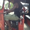 Darren Sammy driving a trishaw in Colombo