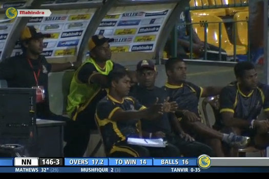 Sanath Jayasuriya and Romesh Kaluwitharana in the Kandurata Warriors dug-out