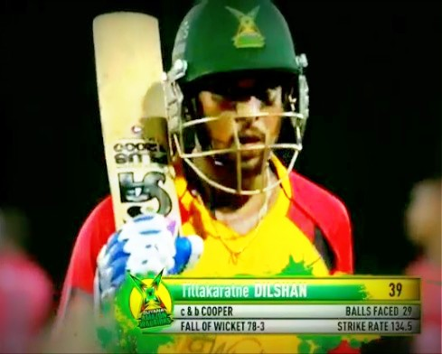 CPL 1st semi final: Dilshan walks back to the pavilion after well made 39