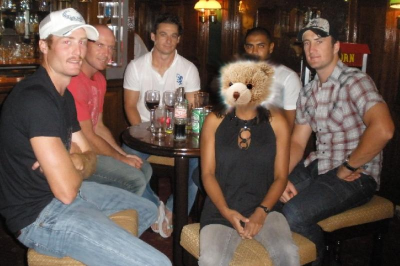 More New Zealand players and a bear with a sore head