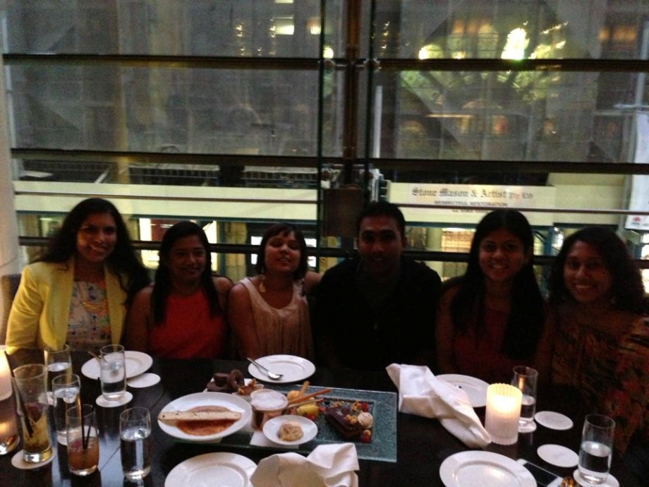 Mahela with his friends in Australia