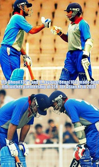 The memorable moment when Dhoni and Mahela made a world record partnership for Asian XI in 2007!