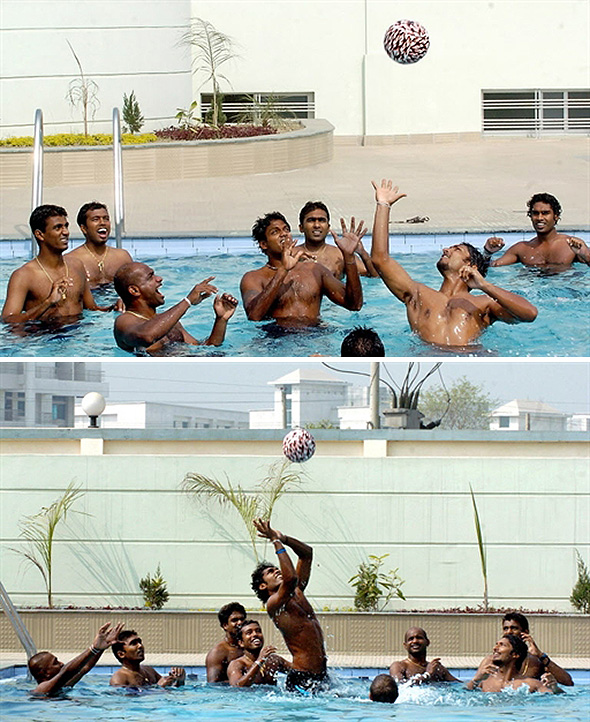 Sri Lankan cricketers enjoy a game of pool volleyball