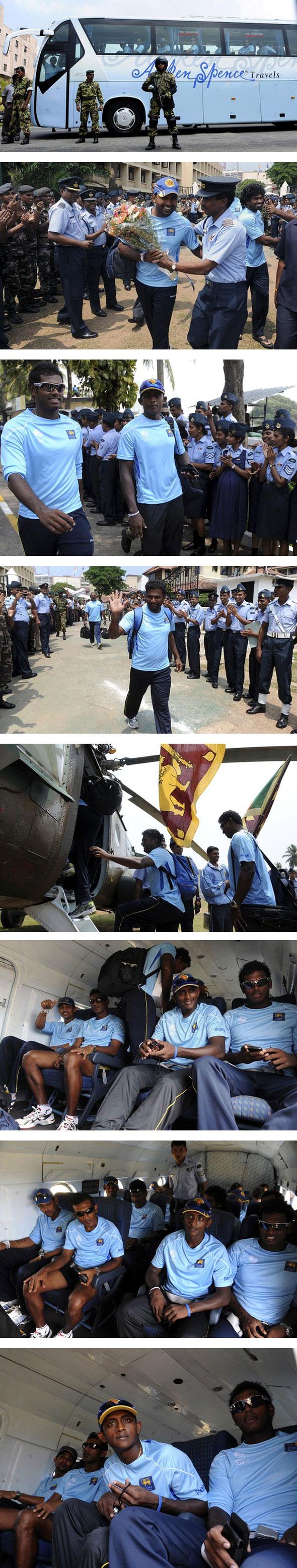Sri Lanka depart for World Cup opener in Hambantota in helicopter