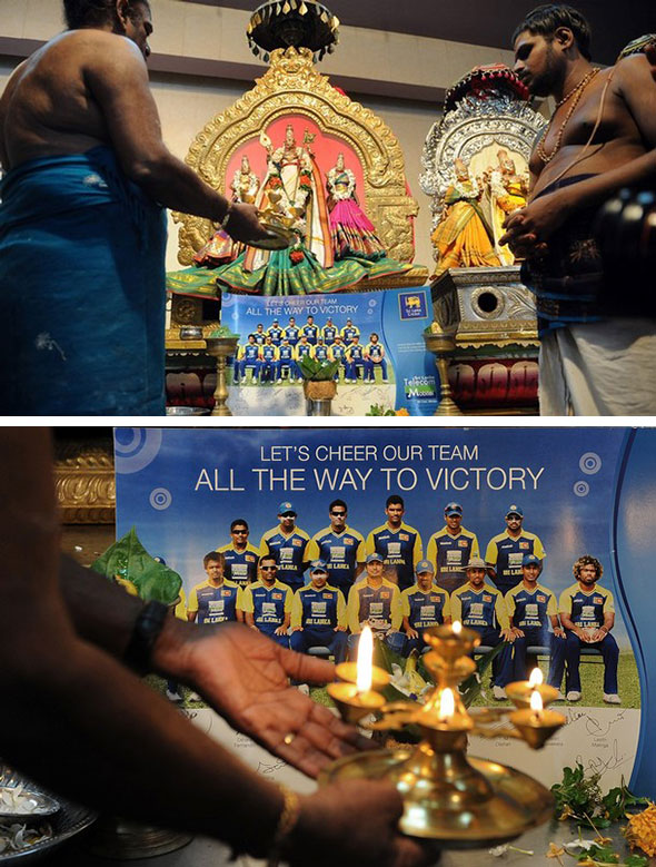 Hindu priests pray for Sri Lankan Cricket World Cup success