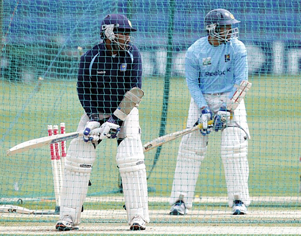 Jayawardene and Dilshan in the nets