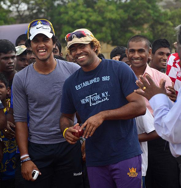 Dinesh Chanidmal and Lasith Malinga in Jaffna