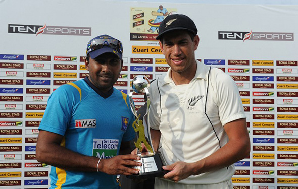Jayawardene and Taylor share Test series trophy