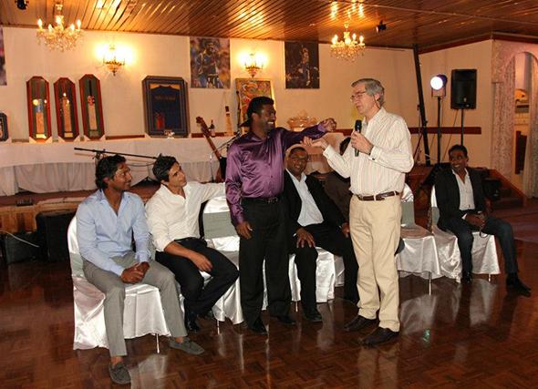 Sri Lankan cricketers at a charity fundraiser in Australia