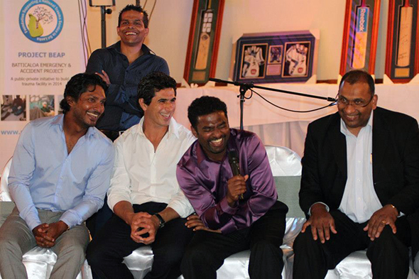 Sri Lankan cricketers at a charity fundraiser in Australia