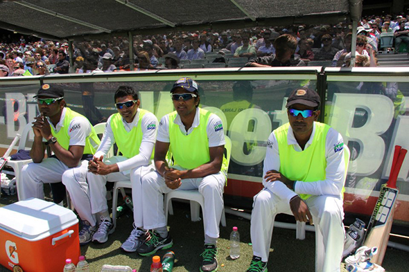 Sri Lankan players at the MCG dugout