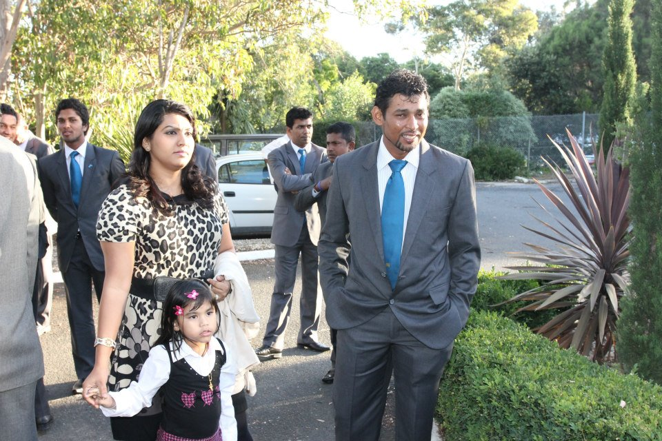 Sri Lankan cricketers at an event in Melbourne, December, 2012