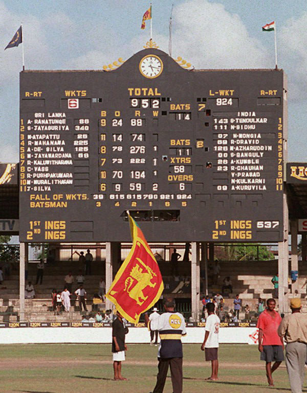 Scoreboard displays highest Test match total in cricket history
