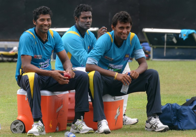 Angelo Mathews, Chanaka Welegedara and Suranga Lakmal