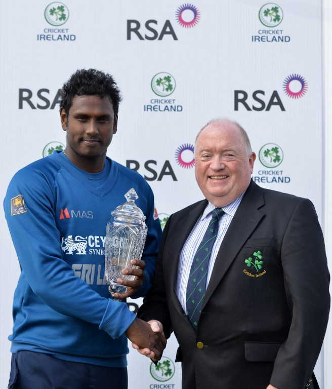 Sri Lanka captain Mathews poses with Ireland series trophy