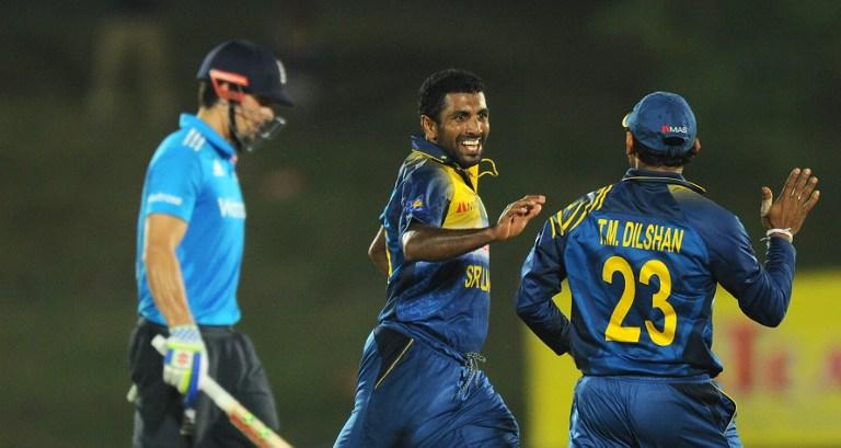 Prasad celebrates after sending back England captain Cook