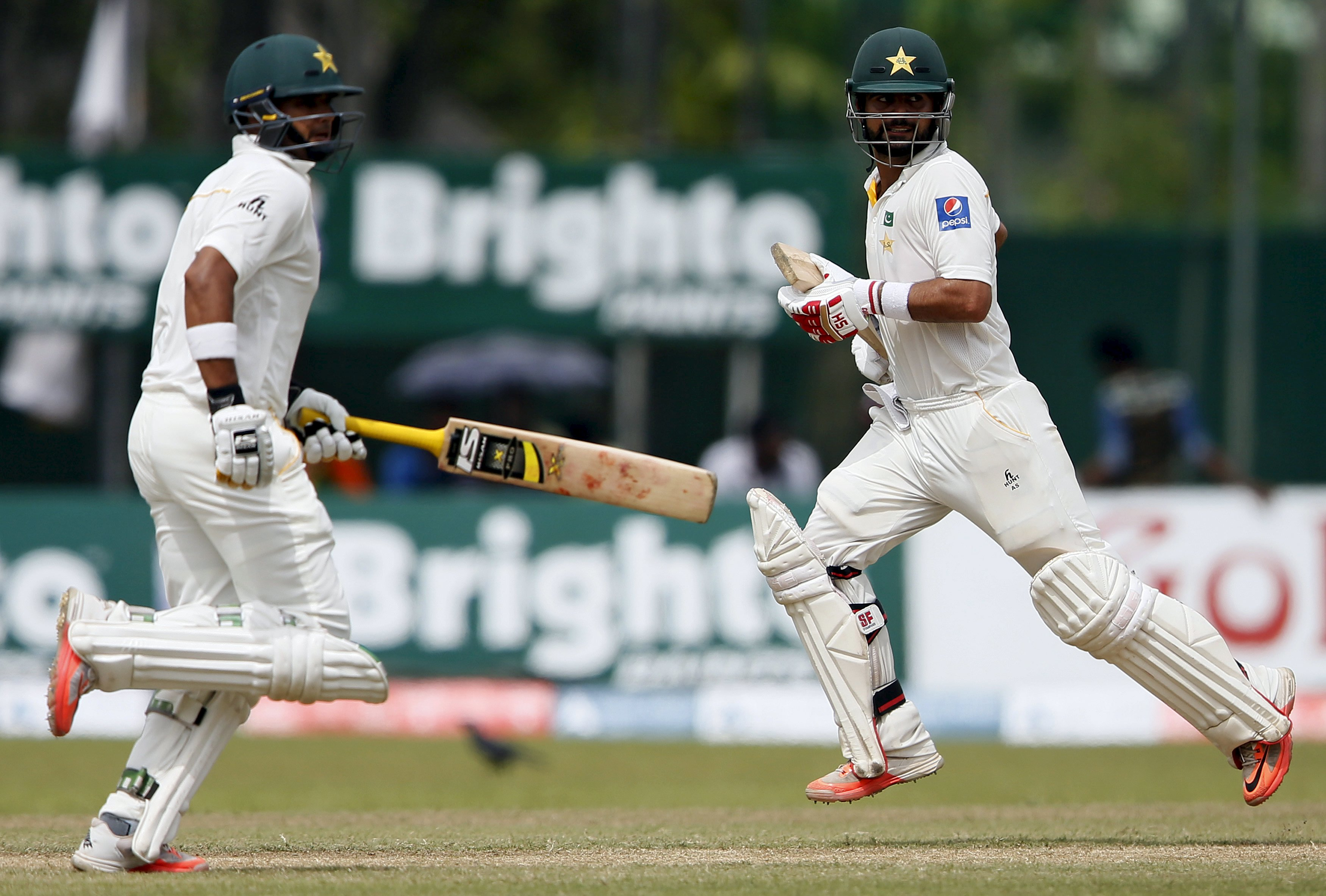 Shehzad and Ali run between wickets