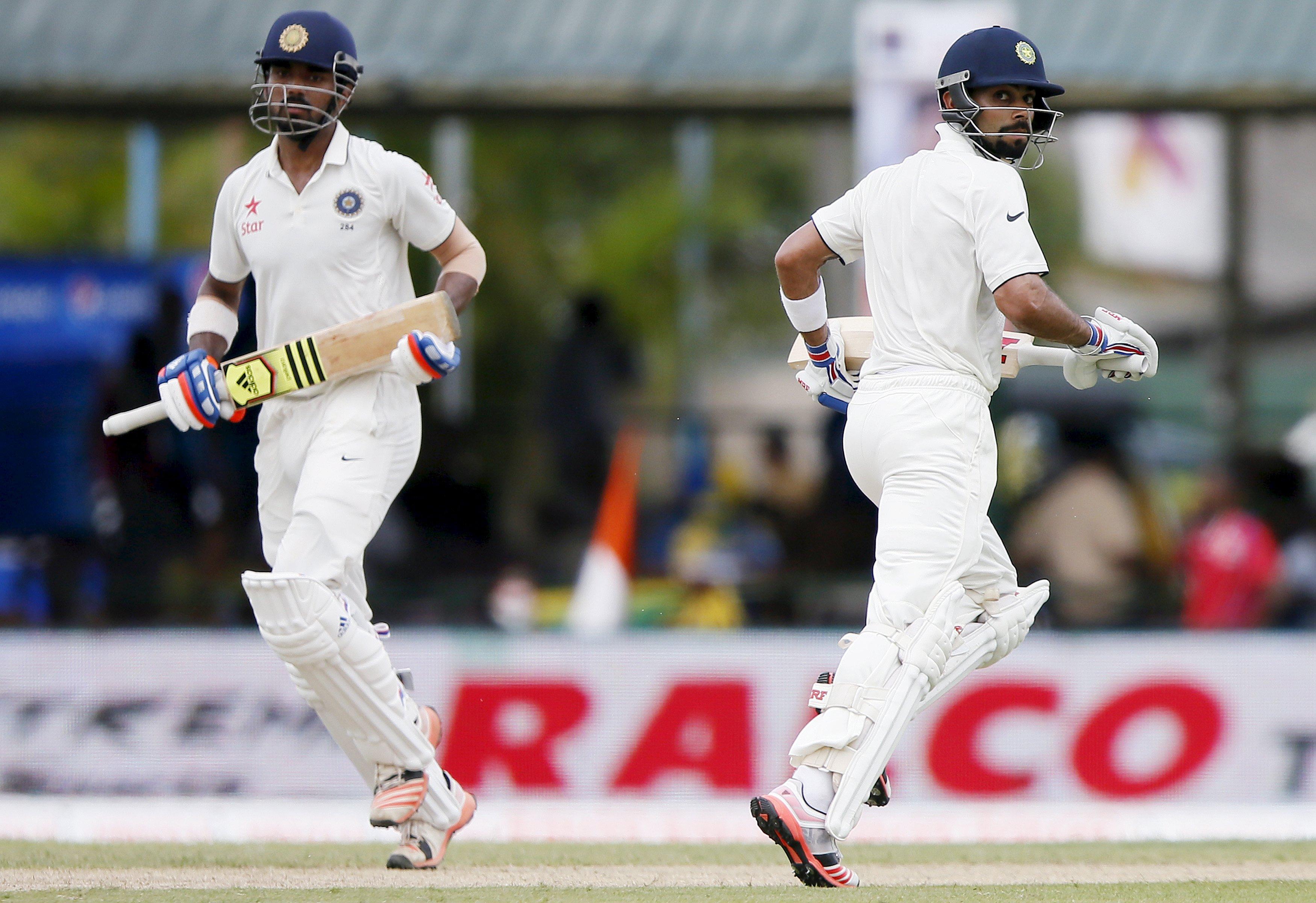 India's captain Virat Kohli (R) and Lokesh Rahul