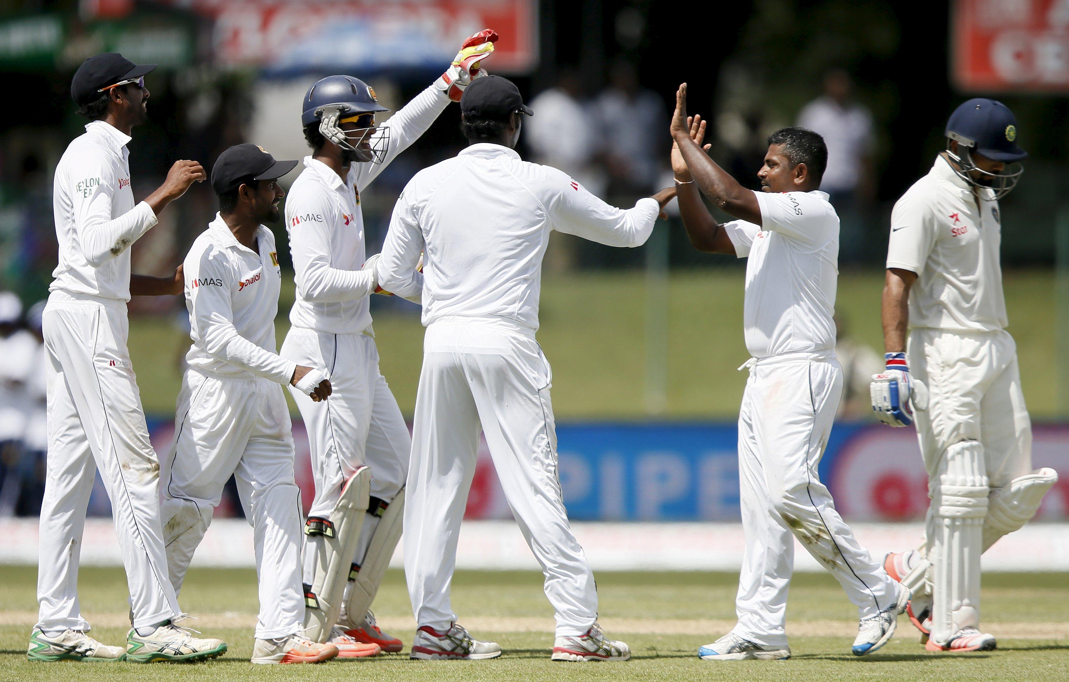 Sri Lanka's captain Angelo Mathews and Rangana Herath
