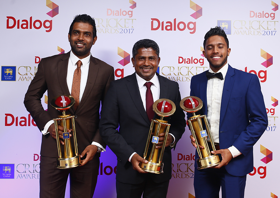 Sri Lankan cricketers at Dialog Sri Lanka Cricket Awards 2017